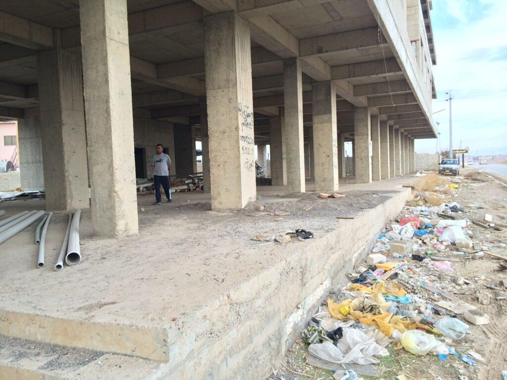 Immeuble en construction ayant abrité des réfugiés à Erbil