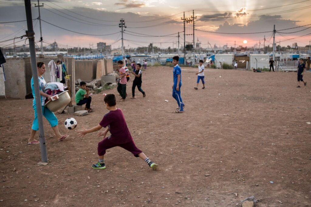 Scène de vie quotidienne dans le camp d'Ashti à Erbil